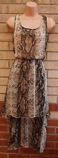 SELECT BROWN SNAKE SKIN ANIMAL PRINT SILKY FLIPPY LONG DRAPE BACK DRESS 10 S