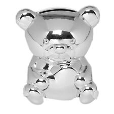 Silver Plated Money Box Mini Teddy Baby Christening Childrens Baby Shower Gift