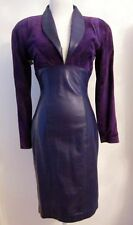 NWT Vtg 80s NORTH BEACH LEATHER Purple Leather & Suede Dress - Sz S