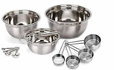 12pc Stainless Steel Mix and Measure Mixing Bowls Measuring Spoons and Cups Wisk