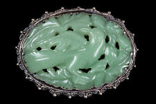 China 20. Jh. Brosche -A Chinese Jadeite & Silver Filigree Brooch Chinois Cinese