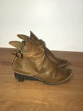 Trippen Brown Textured Leather Strappy Wedge Heel Ankle Boot Size 40 /10