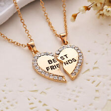 For Your Best Friend Gift Friendship Heart Shape Crystal Pair Pendants Necklace