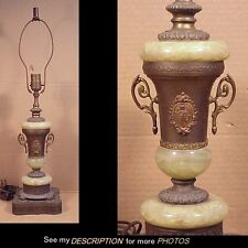 Great! Ornate Art Deco Green Onyx & Brass Table Lamp Base Cupids