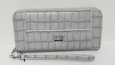 Guess Huntley Grey Embossed Zip Around Large Wallet Clutch NWT