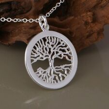 925 Sterling Silver Stylish Charm Fashion Tree of Life Round Necklace Pendant