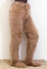 SUPERTANYA BEIGE hand knitted mohair tights pants fuzzy soft trousers with socks