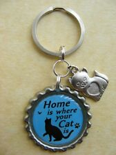 """Home is where your Cat is"" Bottlecap Keyring Birthday Present Gift Black"