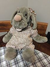 "Vintage GANZ Plush Stuffed WRINKLES 16"" Girl Dog PUPPET, Leather Tag GUC"