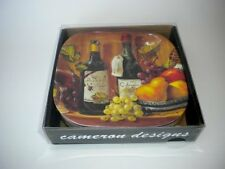 Wine Country Grapes Melamine Appetizer Tapas Cocktail Plates Boxed Set of Six, N