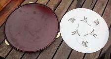 Servierplatte Tortenpatte Bakelit mit Glasteller drehbar Drehplatte 29 cm ALT