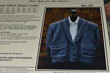 """Mari  Classic Style Knitting Pattern 158 Seed Stitch Shawl Collar 36-46"""""""