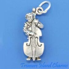DOUBLE UPRIGHT STANDUP BASS PLAYER MUSIC 3D 925 Sterling Silver Charm CONTRABASS