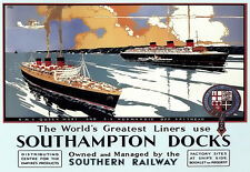 RMS Queen Mary & SS Normandie off Spithead Southampton Dock Travel  Poster Print