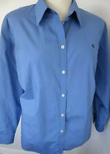 RALPH LAUREN WOMAN Sky Blue Cotton Long Sleeve Washable Blouse Plus 3X Exc