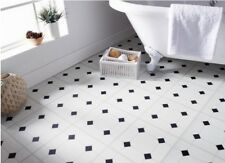 New Self Adhesive Floor Tiles Black & White Diamond Effect