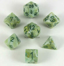 CHESSEX - Set de 7 Dés Marble Green/Green Dark