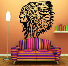Wall Room Decor Art Vinyl Sticker Mural Decal Indian Chief Feathers Cool FI500