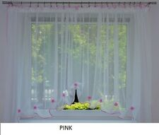 COLOURED TRIMMING VOILE WHITE NET CURTAIN WITH COLOURED FLOWERS READY TO HANG