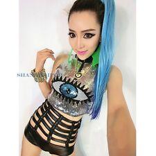 Women Eye Cropped Top Sequin Vest T-shirt Sleeveless Sexy Dance Clubwear Bodycon