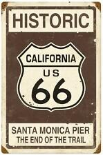 Vintage Historic California Route 66 Santa Monica Pier Metal Sign Travel Decor