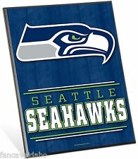 """NFL Seattle Seahawks Logo Premium 8"""" x 10"""" Solid Wood Easel Sign"""