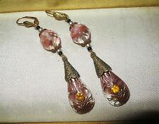 Vintage 1940s Art Deco Czech glass rhinestone earrings