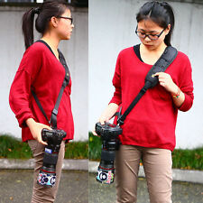 Quick Rapid Camera Single Shoulder Sling Black Belt Strap for SLR DSLR Fast Del