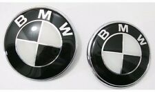 2x BLACK&WHITE BMW Bonnet+Boot Emblem 82mm+74mm fits E30 E36 E46 3 5 7 X BMW