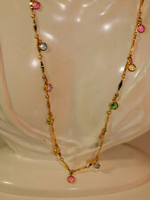 "Vtg 30"" Long Gold Bar Chain Multi-color Pastel Crystal Bezel Necklace 12h 33"