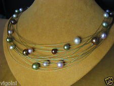 PEARL NECKLACE STRAND STRING RAIN-FOREST SS STEEL WIRE GIFT HONORA CHRISTMAS