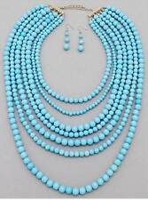 SEVEN LAYERS BLUE SKY LUCITE BEAD NECKLACE EARRING