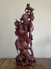 Exceptional Large Chinese Rosewood Carving of Shou Lao God of Longevity