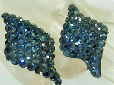 XXX Sparkly Made In USA Blue Vintage 80's Rhinestone Clip Earrings 411F6