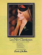 PUBLICITE ADVERTISING 045 1979 CHARLES of the RITZ les néo-classiques