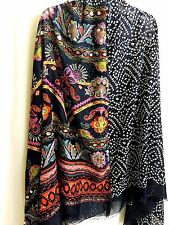 Indian Ethnic Semi-Sheer Sequin Wrap Shawl Scarf XL Navy Multi-color Boho Hippie