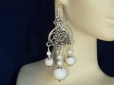Gemstone Earrings- Carved White Tridacna & 925 Sterling Silver- long chandeliers