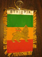 "ETHIOPIA LION FLAG MINI BANNER 4""x6"" CAR WINDOW MIRROR"