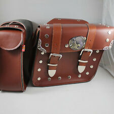 Rider Universal fit Studded Faux Leather Motorcycle Pannier Saddlebags Brown Bag
