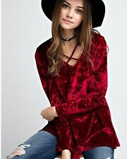 COWGIRL GYPSY BOHO RED Crushed VELVET sleeve Tunic Shirt Top Western LARGE