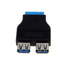 Double USB 3.0 Female To Hi-Speed 20 Pin IDE Female F/F Adapter Converter Perfec