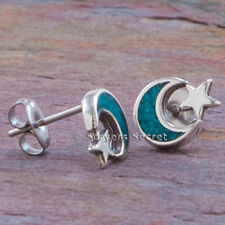 925 sterling silver Celestial CRESCENT MOON & STAR EARRINGS real Turquoise Stud