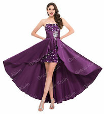Sz 6-20 High Low Satin Ball Gown Cocktail Dance Party Gown Chic Dress Bridemaid