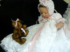 SALE GOWN FOR BABY REBORN ART DOLL WHITE RIBBON EMBROIDERED  BAPTISM PAGEANT