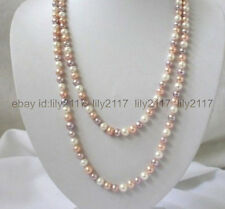 """AAA+7-8mm white pink purple freshwater pearls necklace 34"""""""