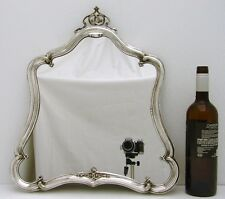 """Rococo Silver plate Mirror with Wood Back for Dresser or Wall 18"""" x 16"""" inches"""