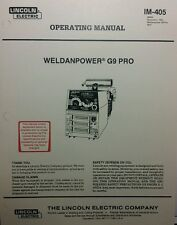 Lincoln Weldanpower G9 PRO 250 Welder Onan Operating, Service & Parts (4 Manuals
