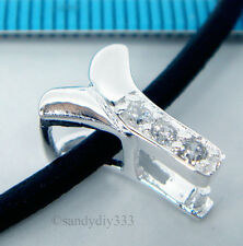1x STERLING SILVER CZ CRYSTAL PLANT PENDANT PINCH BAIL CLASP 12.7mm #1670