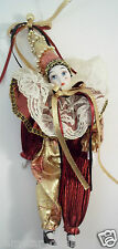 "Clown Doll Porcelain Face Arms & Legs 10"" Tall Burgundy and Gold Tear on Face"