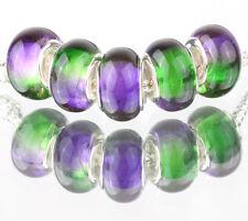 5pcs SILVER MURANO LAMPWORK Beads Fit European Charm Bracelet DIY #F509